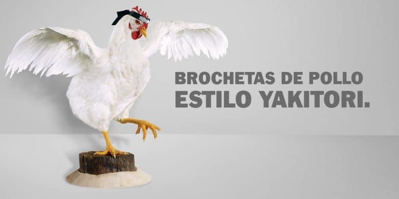 Brochetas de pollo estilo Yakitori