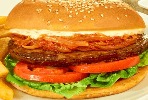 Hamburguesa con cebolla al chipotle Paso:   4