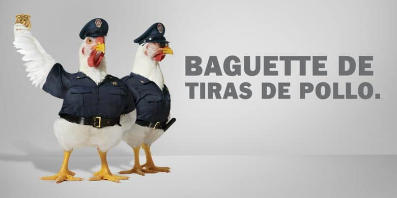 Baguette de tiras de pollo.