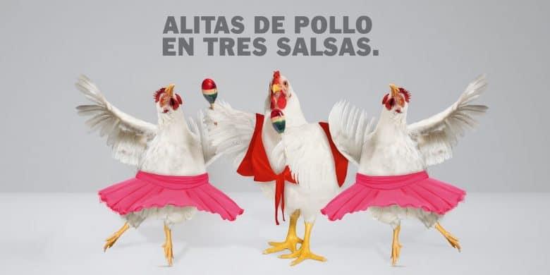 Alitas de pollo en tres salsas