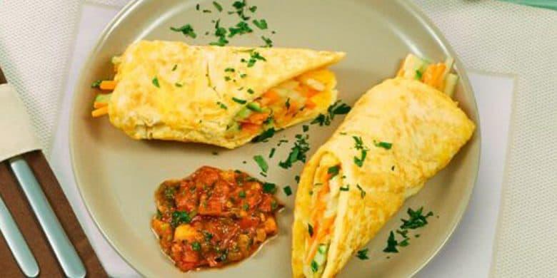 Envuelto de huevo con vegetales Paso:   5