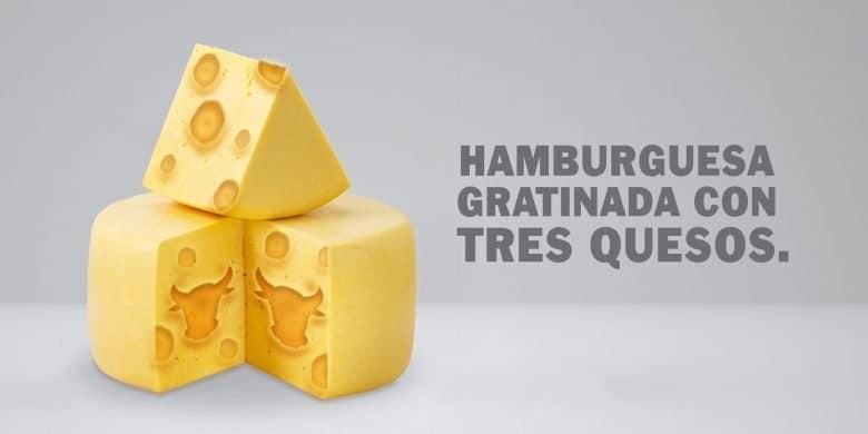 Hamburguesa gratinada de 3 quesos