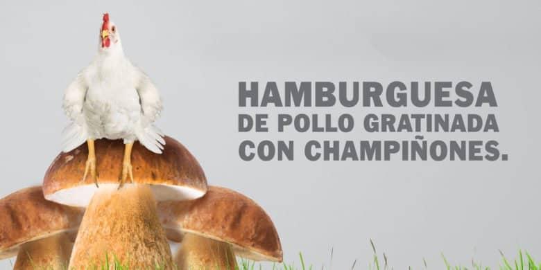 Hamburguesa de Pollo Gratinada con Champiñones