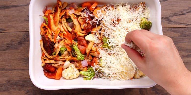 Pollo gratinado con vegetales Paso:   3