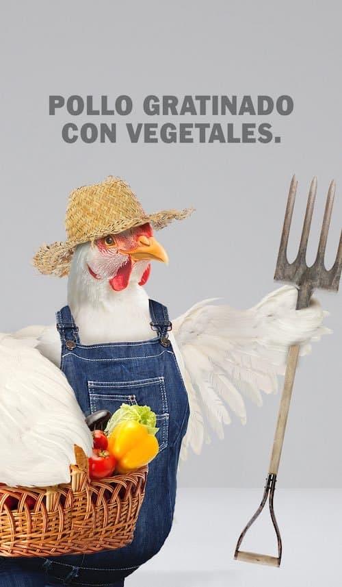 Pollo gratinado con vegetales
