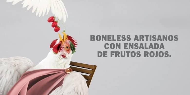 Boneless artisanos con ensalada de frutos rojos