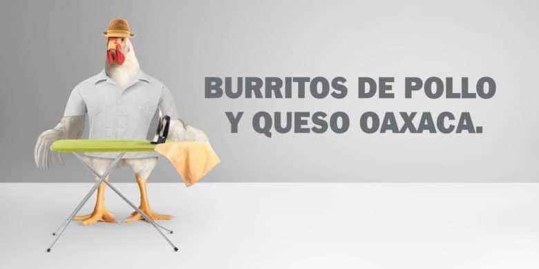 Burritos de pollo y queso Oaxaca