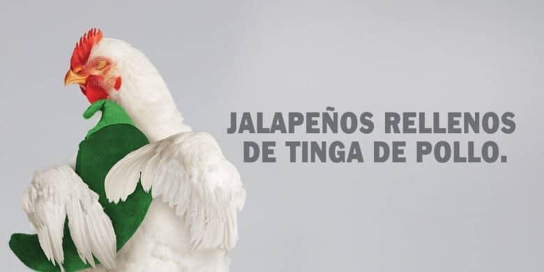 Jalapeños rellenos de tinga de pollo