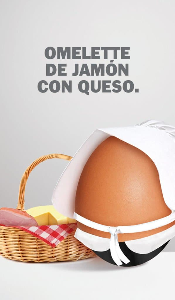 OMELLETE CON JAMÓN Y QUESO